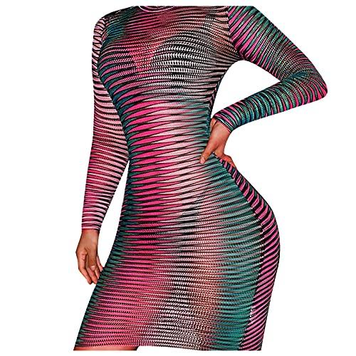 NISOWE Vestido de fiesta para mujer, elegante, para discoteca, noche o discoteca., Rosa., S