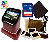 Wolverine F2D Saturn Digital Film & Slide Scanner - Converts 120 Medium Format, 127 Film, Microfiche, 35mm Negatives & Slides to Digital - 4.3' LCD, 16GB SD Card, Z-Cloth & HDMI Cable Included (Red)