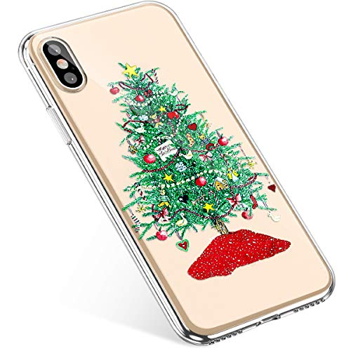 Uposao Coque iPhone XS Max Etui Silicone TPU Housse Souple Transparente Coque Noël Cerf Flocon de Neige père Noël Sapin Elk décoration Christmas Mince Premium Hybrid Anti Choc Case iPhone XS Max