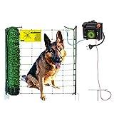 50 m Hundezaun DogFence 30 - anschlussfertig mit Netz (108 cm hoch), Weidezaungerät und Erdung