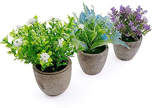 Künstliche Topfpflanze, Künstliche Pflanzen mit Grauen Topf, Mini Kunstpflanzen 3er-Set,Klein Dekorative Pflanzen Bonsai für Büro Party Balkon Dekor