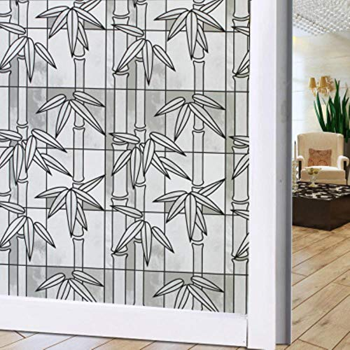 45x100cm frosted raam glas sticker licht ondoorzichtige badkamer schuifdeur verduisterende raamfolie decoratie persoonlijkheid creatief, zwarte bamboe