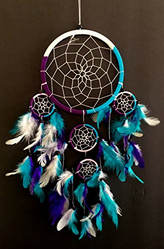 OMA Dream Catcher - Hand Crafted Traditional Tie Dye Colors Turquoise, Purple & White Feathers - Large Size - 9' Diameter & 30' Long
