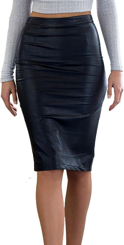 Eliacher Women's Pencil Skirt Below Knee Length Skirt Midi Bodycon Skirt