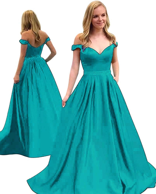 Fanciest Women's Off Shoulder Waist Beaded Satin Prom Evening Dresses with Pockets