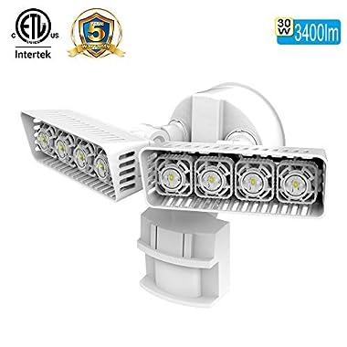 SANSI LED Security Motion Sensor Outdoor Lights, 30W (250W Incandescent Equivalent) 3400lm, 5000K Daylight, Waterproof, ETL Listed Floodlights, White