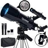 Upchase Telescopio Astronomico, 400/70mm Portátil y Potente Refractor Telescopio,...