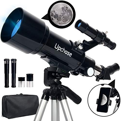 Upchase Telescopio Astronomico, 400 70mm Telescopio Rifrattore, Adatto per Adulti-Bambini-Principianti, Facile da Montare e Utilizzare, Osservare La Luna,Stelle,Paesaggio, Regalo di Natale per Bambin