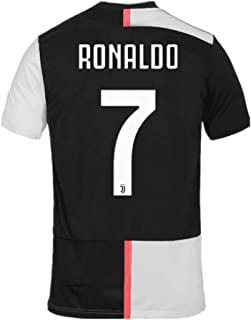 JUVE-JS Juventus #7 Cristiano Ronaldo Home Soccer Shirt 2019-2020 Season for Mens Fan White/Black