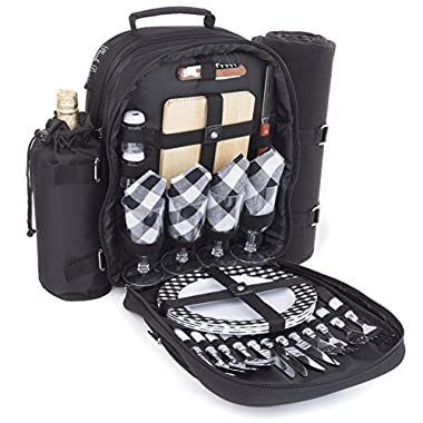 Plush Picnic Picnic Backpack/Picnic Basket with Cooler Compartment, Detachable Bottle/Wine Holder, Fleece Blanket, Plates and Cutlery Set (4 Person)
