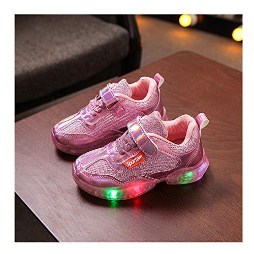 Kinder LED Sportschuhe,Heiß Neu Jungen Mädchen Mesh Laser Atmungsaktiv Led leuchtende Laufschuhe Helle Schuhe,Kleinkind Weiche Luminous Outdoor Sportschuhe Herbst Winter Turnschuhe (Pink, 24)