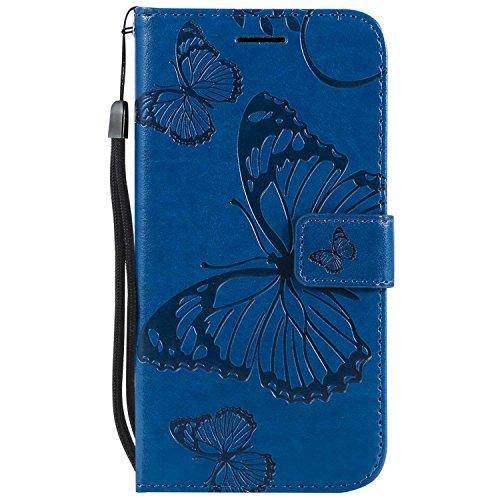 DENDICO Cover Galaxy S5, Pelle Portafoglio Custodia per Samsung Galaxy S5 Custodia a Libro con Funzione di appoggio e Porta Carte di cRossoito - Blu
