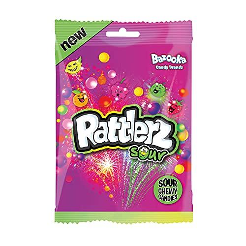 Bazooka Rattlerz Sours Fruity Chewy Sweets, 120 g