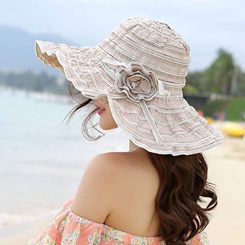 YDHWY Sombrero de Las Mujeres de Verano Ventilación Plegable Sombrillas de Sol Sombrero de Playa Cuerda de Viento Sombrero de Ajuste Fijo Sombrero de protección Solar (Color : A)