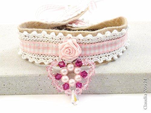 Kropfband Dirndlschmuck rosa weiß mit Herz - Unikat