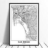 Leinwanddrucke Wanddekoration,San Diego Schwarz Weiß