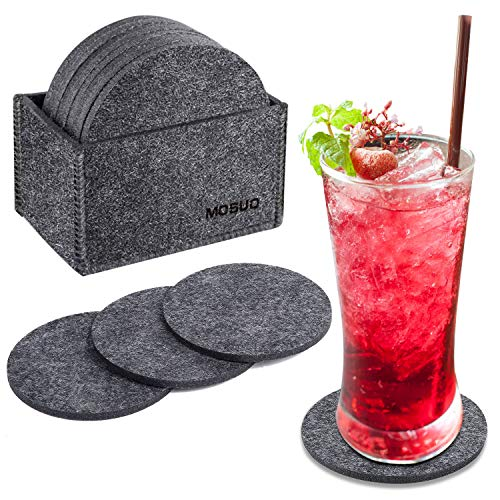 MOSUO Drink Coasters Set of 12, Felt Coasters with Storage Box Cup Mats Coaster Sets, Dark Gray TableMats Tabletop Protection Coffee Table Non Slip for Beer, Mug,Wine, Glass Bottle