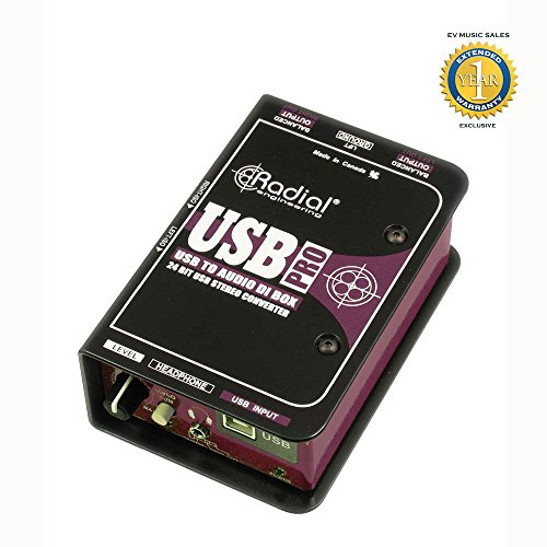 Radial Engineering USB-Pro Stereo USB Laptop DI with 1 Year Free Extended Warranty