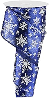 Snowflake Christmas Wired Ribbon: Royal Blue Silver White 2.5 Inches X 10 Yards