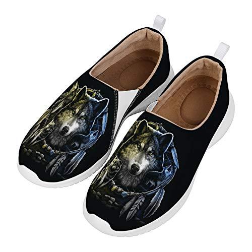 HUGS IDEA Zapatos casuales sin cordones, moda étnica floral mandala estilo bohemia elegante ligero espuma plana deporte zapatillas de correr fitness footing calzado, color, talla 39 EU