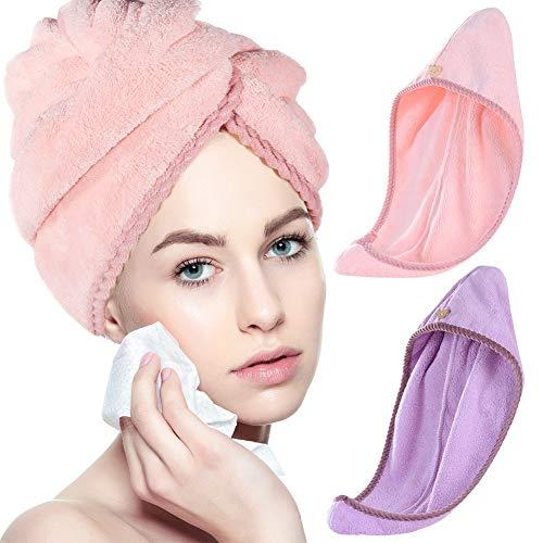 miuse Mikrofaser Handtuch Turban, 2 Stück Haar Turban Handtuch Schnelltrocknend Kinder Schnell Trocknendes Haarhandtuch Wrap für Frauen und Mädchen, 65 x 25 cm(purple+pink)