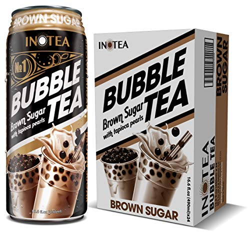 Bubble Tea Inotea Brown Sugar Bubble Tea Drink. Ready to Drink in a Can. Black Milk Tea with Boba 16.6 oz Can(Pack of 24) (Brown Sugar)