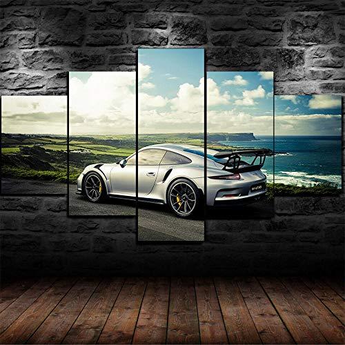 BAEPAYF Bild auf Leinwand -Porsch 911 GT3 RS Superauto fünf Teile - Breite: 200cm,Höhe:100cm-mehrteilig-zum Aufhängen bereit-Bilder-Kunstdruck Wand Wohnzimmer Wanddekoration