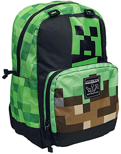 Minecraft Creeper Rucksack Multicolor JX9574, mincecraft, 37.7 x 23.8 x 10.3 cm