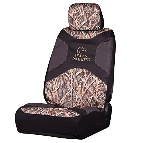 Ducks Unlimited Low-Back Camo Bucket Seat Cover (Mossy Oak Blades Camo, Durable Polyester Fabric, Includes Headrest Cover, Sold Individually)