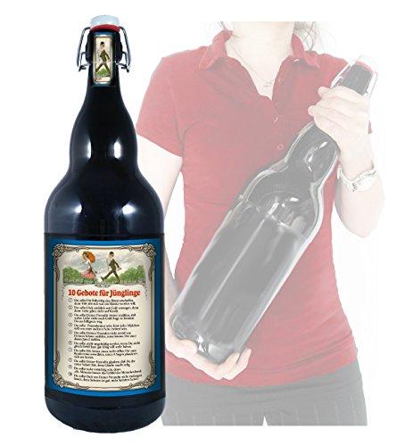 10 Gebote für Jünglinge - 3 Liter XXL-Flasche Bier mit Bügelverschluss