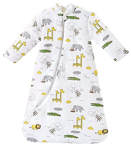 Chilsuessy Baby Schlafsack Winter, Abnehmbare Ärmel, warm gefüttert 3.5 Tog Winter Schlafsäcke Jungen Mädchen Schlafsack für Kleinkinder von 6 Monaten bis 6 Jahre, Giraffe Park, S (65-75 cm)