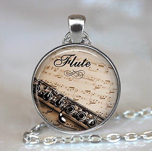 Colgante de flauta y música, colgante de flauta, collar de flauta, regalo para profesor de música, flautista regalo flautista flautista, collar de Halloween, collar de Navidad