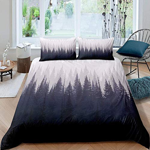 Meesovs Duvet Cover Set Smoky mountain woods gray natural scenerySuper King(260 X 230 cm) 3 Pieces Bedding Set 100% Microfibre Duvet Cover 3 PCS with Zipper Closure Bed Se+ 2 pillowcases (50 x 75 Cm)