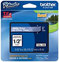 2/Pack Genuine Brother 1/2 (12mm) White on Clear TZe P-touch Tape for Brother PT-D210 PTD210 Label Maker [並行輸入品]