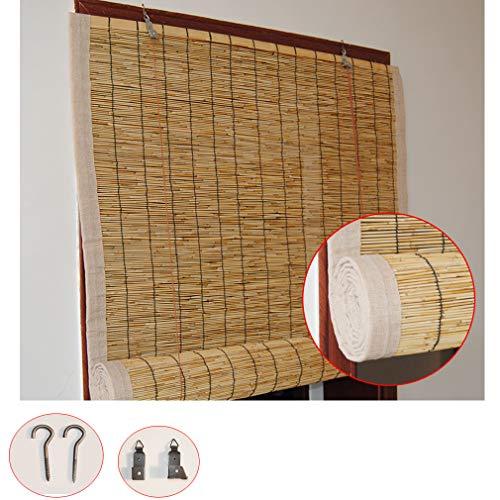 Zlovne Cortina de Caña,Tejidas a Mano Persiana de Bambú,Persianas Enrollables de Bambú Cortinas de Elevación,Personalizable,Respirable/Impermeable,para Jardín/Balcón (120x140cm/47x55in)