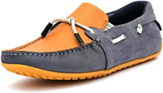 HITZ Blue Leather Loafers for Men