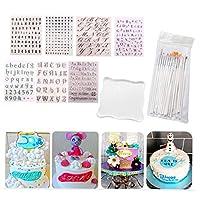 アルファベットケーキスタンプツール-アルファベットと数字のフォンダンケーキ型、DIYクッキースタンプクッキーカッターフォンダン型、(7文字のテンプレート各1+バックボード+ペン)