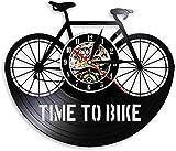 WZCXYX Time To Bike Bikers Cita de inspiración Decoración para el hogar Reloj de Pared para Bicicleta de montaña Bicicleta de Ciclismo Antiguo Reloj de Pared con Registro de Vinilo retroNo-No_Led JI