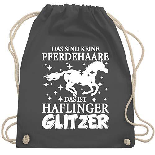 Shirtracer Pferde - Das sind keine Pferdehaare - Das ist Haflinger Glitzer - weiß - Unisize - Dunkelgrau - Pferdeliebe - WM110 - Turnbeutel und Stoffbeutel aus Baumwolle