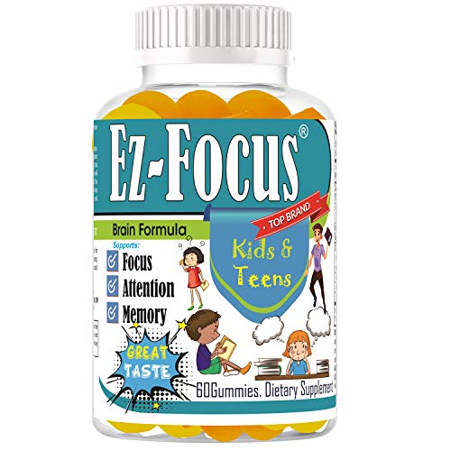 Ez Focus Gummies for Kids Brain Focus Chewable Focus Vitamins and Attention Supplement for Kids, Children and Teens Great Taste Kids Gummies for Focus Calming Natural Omegas DHA School Study Task