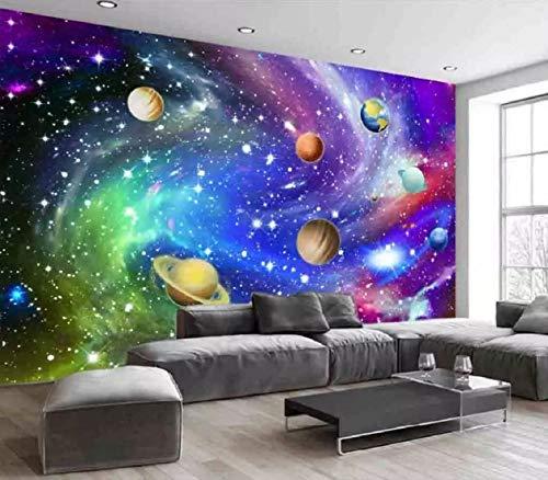 Fototapete 3D Effekt Tapete Der Star Im Hintergrund Wand Des Sonnensystems Vliestapete 3D Wallpaper Moderne Wanddeko Wandbilder