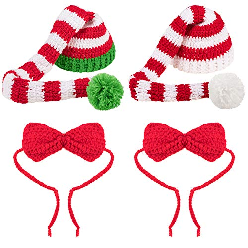 2 Sets Baby Christmas Hat Christmas Baby Long Tail Hats with Bows, Christmas Elf Beanie Hats Knitted Bows for Infant Toddler Christmas Party Photography Prop