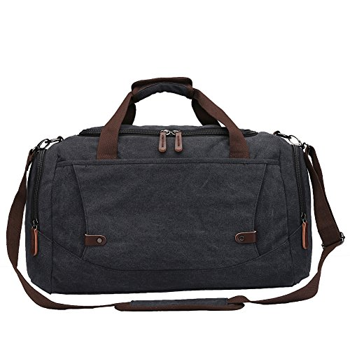 Toupons Canvas Duffle Bag Small Travel Luggage Tote Carry-on Bag Overnight Bag Weekender(Brown)