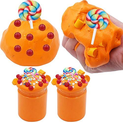 SWZY Cotton Candy Slime Naranja Fluffy Cloud Slime Supplies Juguete para aliviar el estrés Juguete perfumado DIY Putty Sludge Toy para niñas y niños 8 OZ. (120ML 2Pack)
