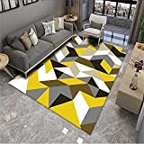 Alfombra Cama Alfombras para Habitaciones Juveniles Color Amarillo café con Leche diseño geométrico Irregular Sala de Estar Moderna Comedor Mesa de Centro fácil de Mantener Suelo Cocina 80X160cm