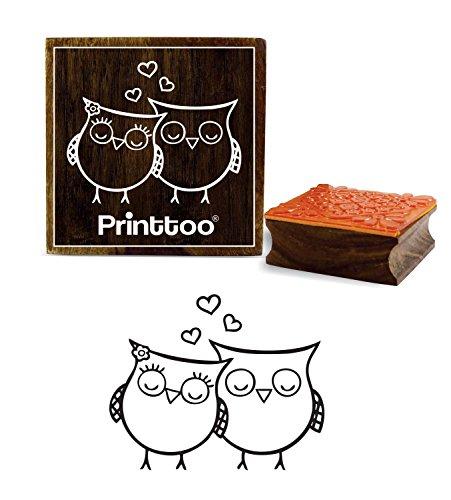 Printtoo Owl patroon vierkant hout stempel handwerk textiel schrood-boeking blok 2 x 2 Zoll bruin