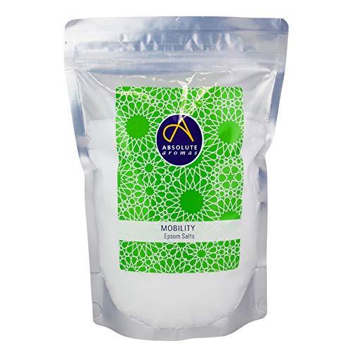 Absolute Aromas Mobility (Movilidad) Sales de Baño Epsom 1 kg - Sulfato de Magnesio Infundido con Aceites Esenciales 100% Puros - Aceites de Menta, Romero y Eucalipto