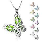 Maromalife Essential Oil Diffuser Necklace Butterfly Zircon Stainless Steel Aromatherapy Pendant Locket with Adjustable Chain and 10 PCS Felt Pads