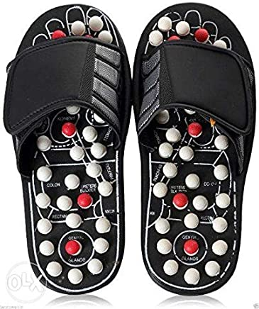 Yugg Spring Acupressure and Magnetic Therapy Accu Paduka Plastic Slippers for Full Body Blood Circulation (Assorted Colours, 8, 10-inch)