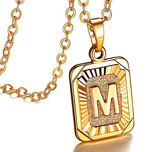 FOCALOOK Buchstabe M Anhänger mit 50cm verstellbar Rolokette goldene Initiale Collier 18k vergoldet Schmuck für Damen Mädchen tolles Geschenk für Valentinstag Jahrestag